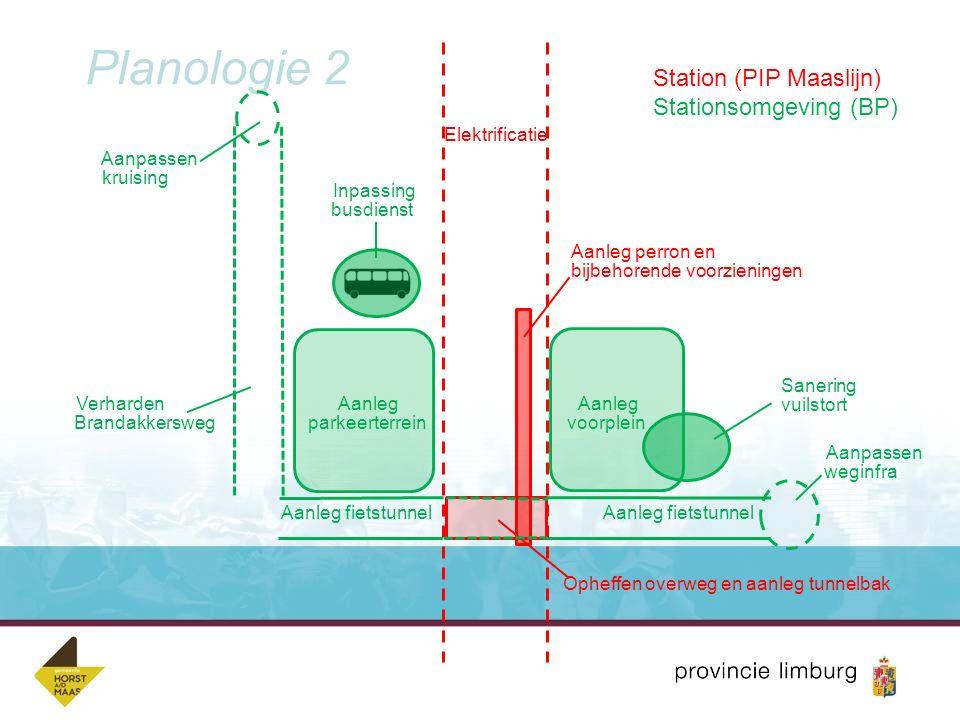 Planologie 2 Opheffen overweg en aanleg tunnelbak Aanleg fietstunnel Aanleg parkeerterrein Aanleg perron en bijbehorende voorzieningen Aanleg voorplei