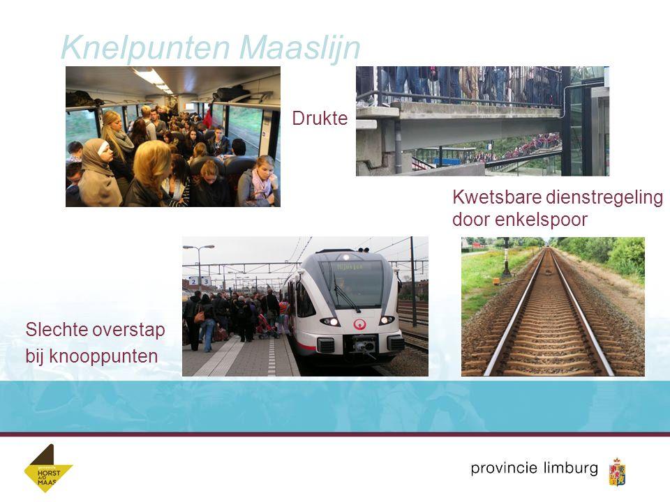 Ambitie Maaslijn Kwaliteitsverbetering spoorverbinding voor personenvervoer Fase 1 (2020)  Vergroten betrouwbaarheid spoor  Capaciteitsvergroting treinen (meer zitplaatsen) Fase 2 en 3  Meer, snellere en doorgaande treinen