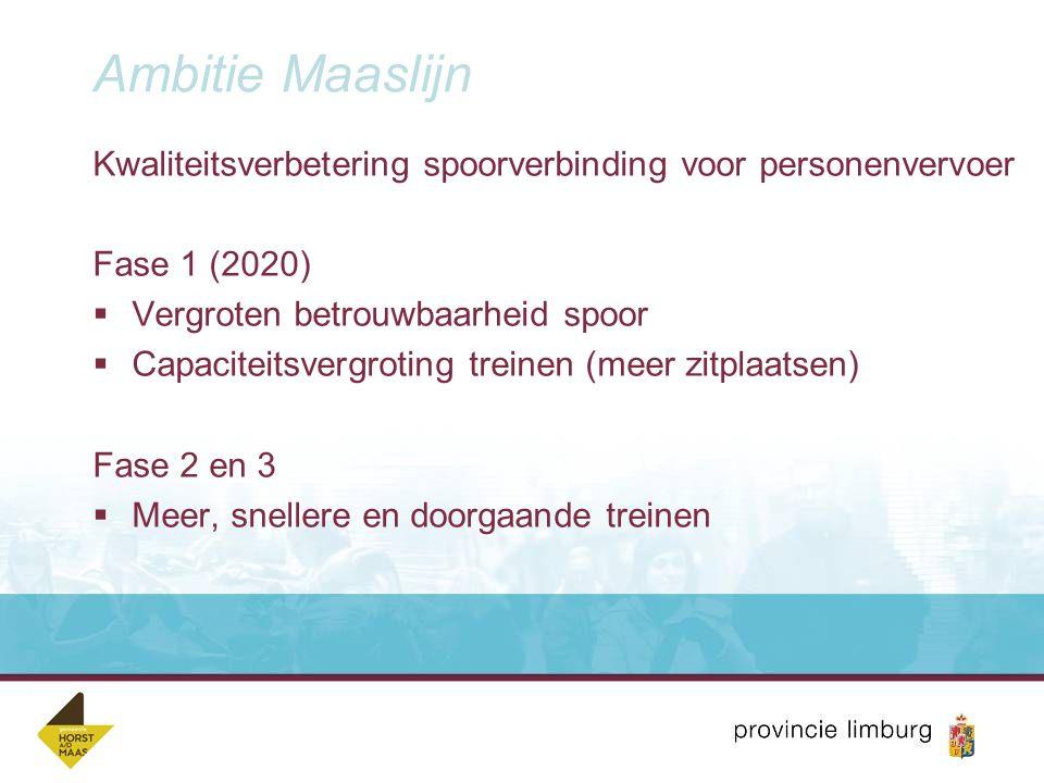 Aanpak Maaslijn Ambitie van fase 1: 1.Maatregelen voor hogere snelheid 2.Spoorverdubbelingen (plaatselijk) 3.Elektrificatie 4.Station Grubbenvorst – Greenport Venlo