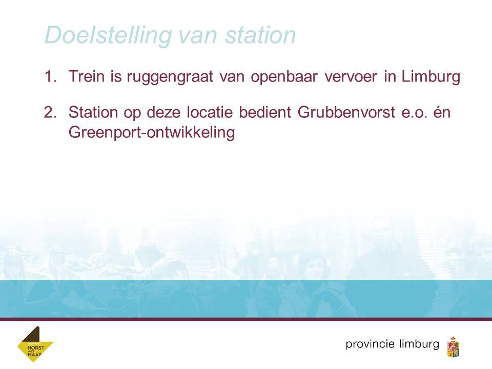 Doelstelling van station 1.Trein is ruggengraat van openbaar vervoer in Limburg 2.Station op deze locatie bedient Grubbenvorst e.o. én Greenport-ontwi