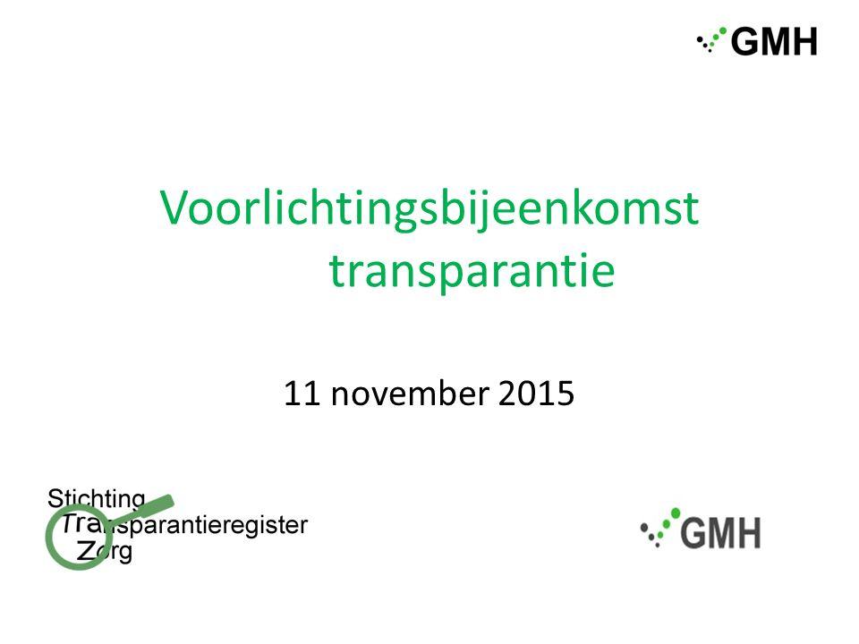 Voorlichtingsbijeenkomst transparantie 11 november 2015