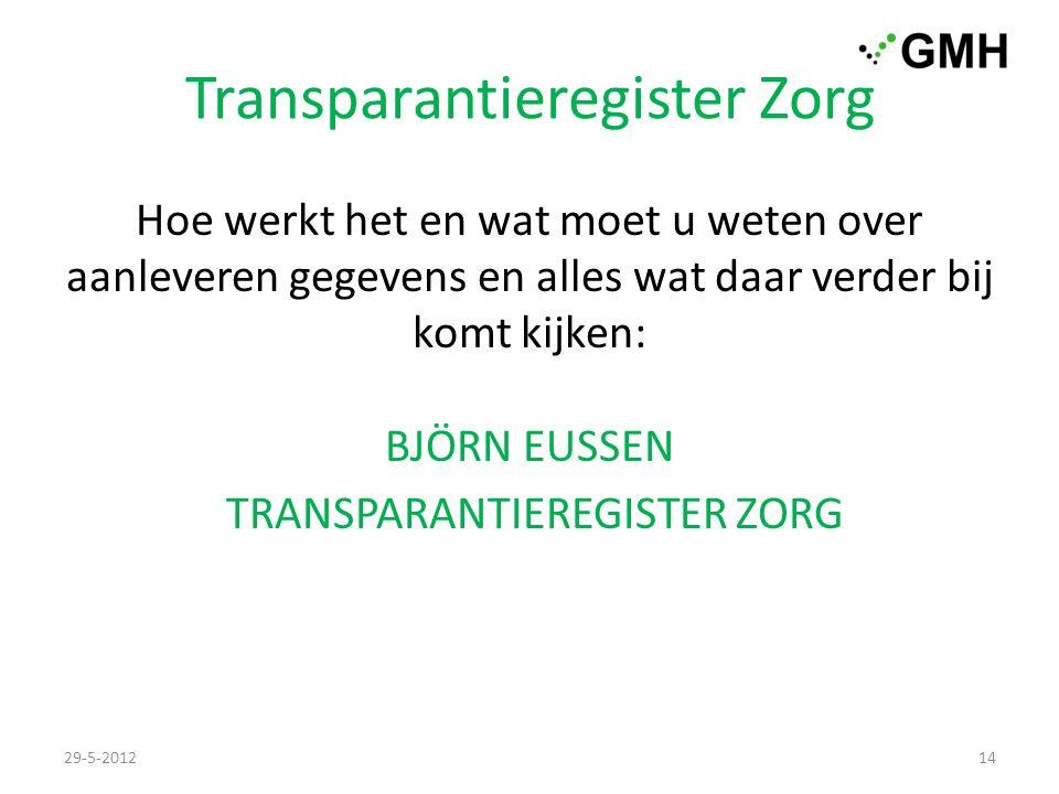 Transparantieregister Zorg Hoe werkt het en wat moet u weten over aanleveren gegevens en alles wat daar verder bij komt kijken: BJÖRN EUSSEN TRANSPARANTIEREGISTER ZORG 29-5-201214