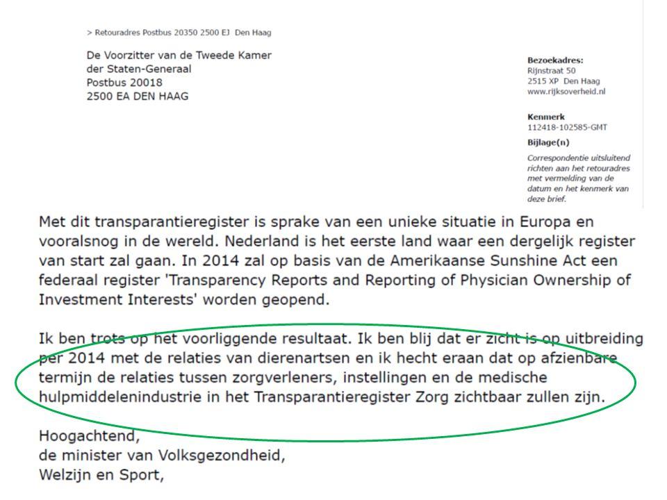 Gedragscode GMH 2012: bindend voor leveranciers medische hulpmiddelen 2014: wederkerigheid: KNMG, NVZ, NFu sluiten zich aan Gedragscode bevat op dat moment regels voor interne transparantie: – melden gastvrijheid – toestemming dienstverlening + sponsoring 29-5-20124