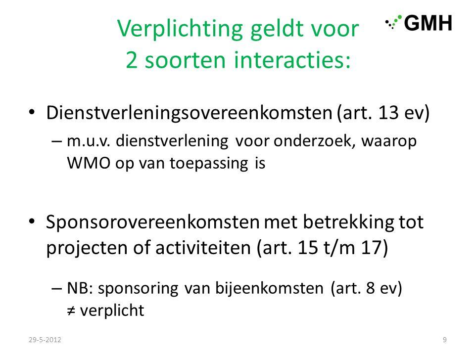 Verplichting geldt voor 2 soorten interacties: Dienstverleningsovereenkomsten (art.