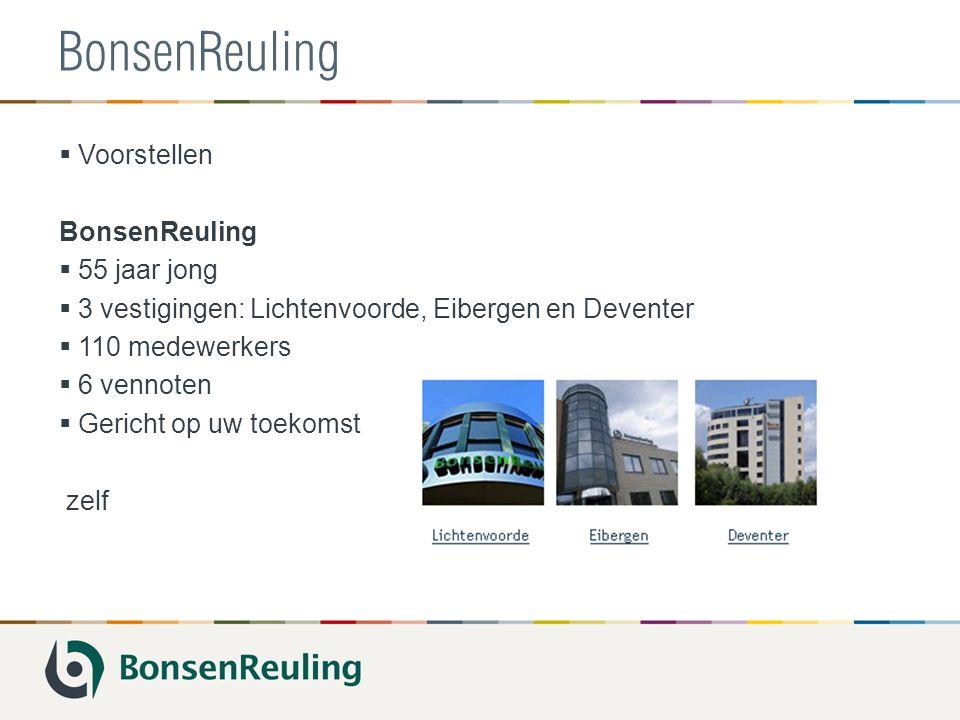 BonsenReuling  Voorstellen BonsenReuling  55 jaar jong  3 vestigingen: Lichtenvoorde, Eibergen en Deventer  110 medewerkers  6 vennoten  Gericht op uw toekomst zelf