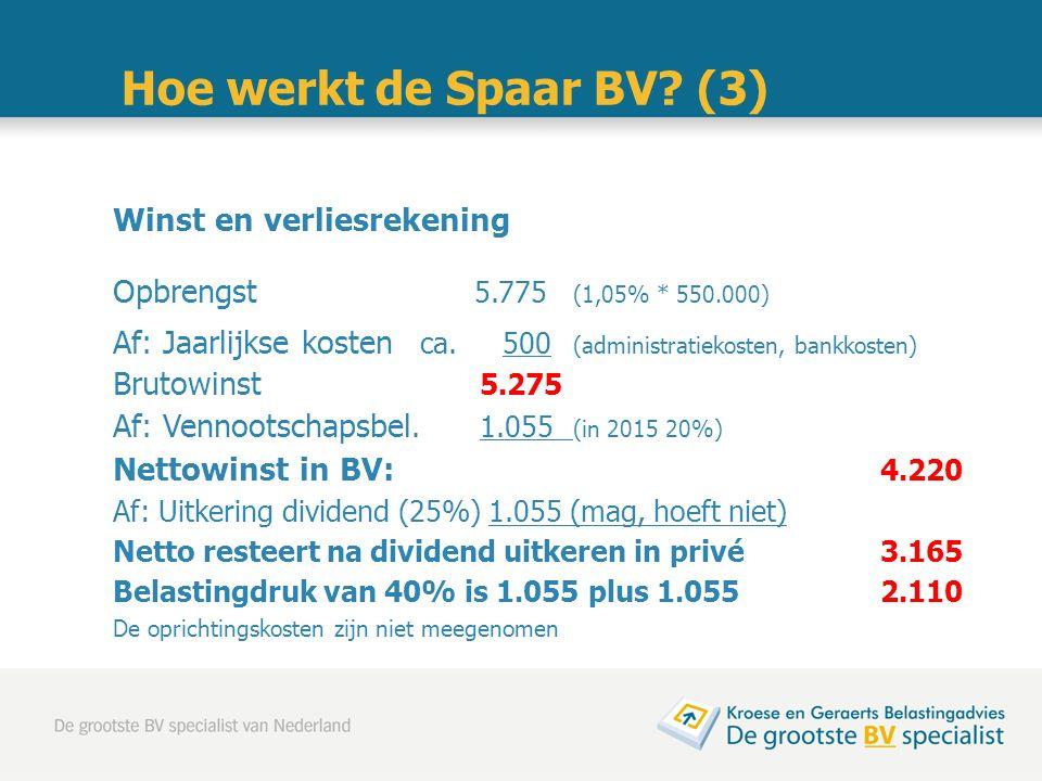 Winst en verliesrekening Opbrengst 5.775 (1,05% * 550.000) Af: Jaarlijkse kosten ca. 500 (administratiekosten, bankkosten) Brutowinst 5.275 Af: Vennoo
