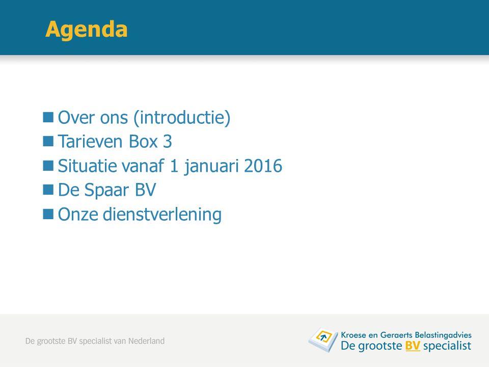 Agenda Over ons (introductie) Tarieven Box 3 Situatie vanaf 1 januari 2016 De Spaar BV Onze dienstverlening