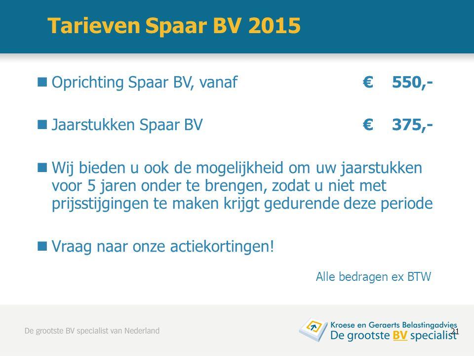 Tarieven Spaar BV 2015 Oprichting Spaar BV, vanaf€ 550,- Jaarstukken Spaar BV€ 375,- Wij bieden u ook de mogelijkheid om uw jaarstukken voor 5 jaren o
