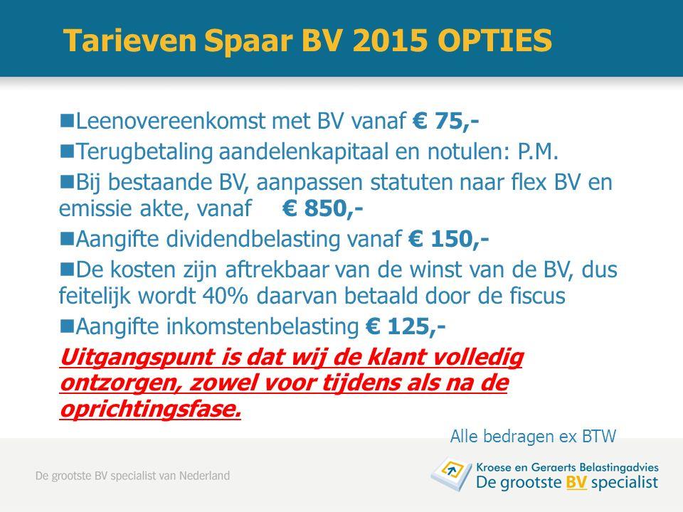 Tarieven Spaar BV 2015 OPTIES Leenovereenkomst met BV vanaf € 75,- Terugbetaling aandelenkapitaal en notulen: P.M. Bij bestaande BV, aanpassen statute