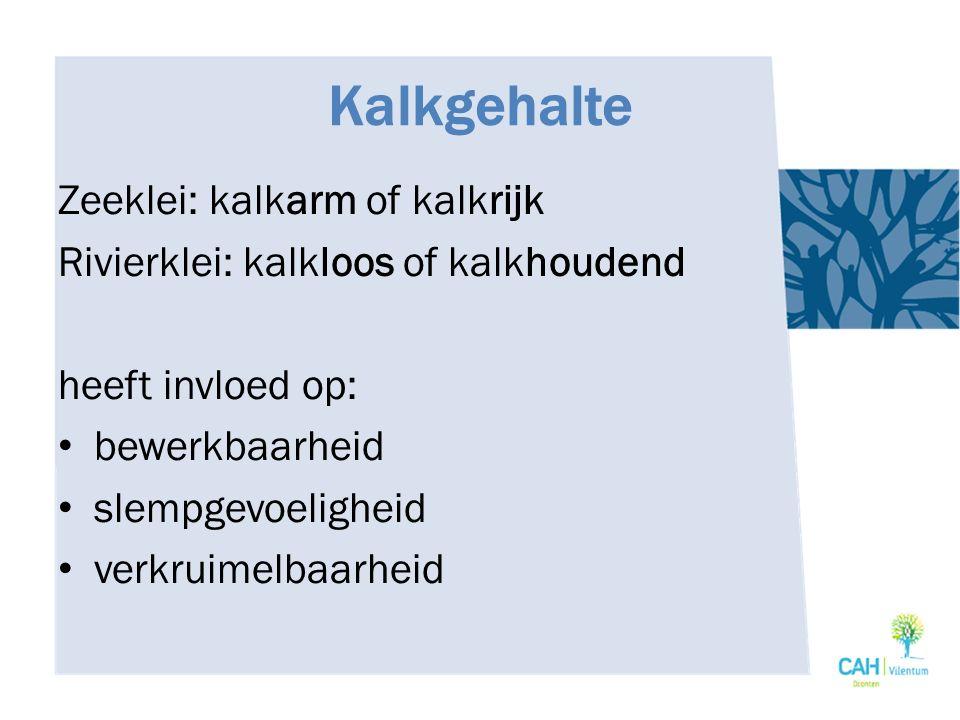 Kalkgehalte Zeeklei: kalkarm of kalkrijk Rivierklei: kalkloos of kalkhoudend heeft invloed op: bewerkbaarheid slempgevoeligheid verkruimelbaarheid
