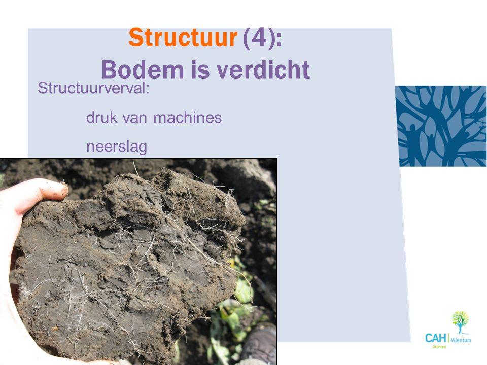 Structuur (4): Bodem is verdicht Structuurverval: druk van machines neerslag