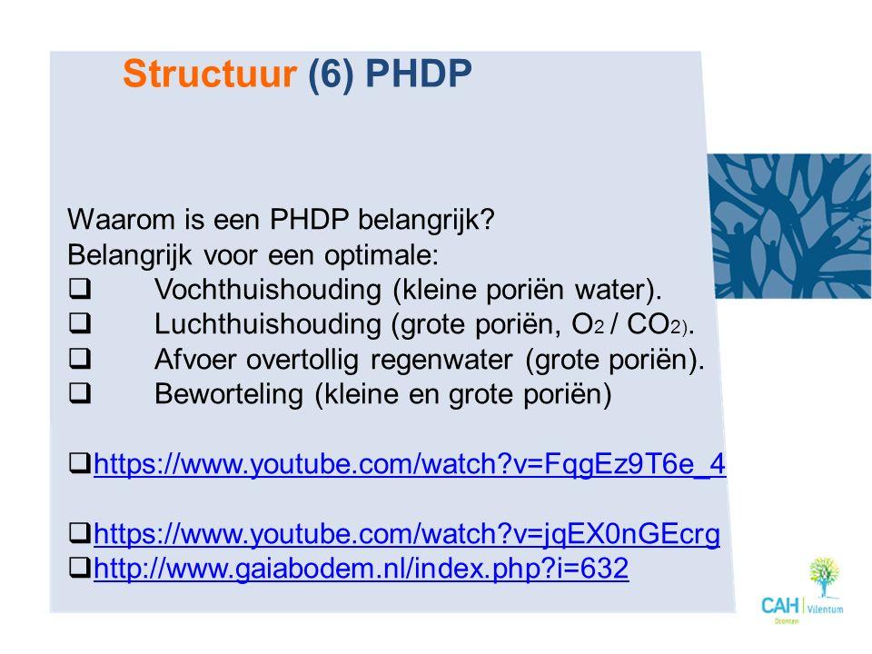 Waarom is een PHDP belangrijk? Belangrijk voor een optimale:  Vochthuishouding (kleine poriёn water).  Luchthuishouding (grote poriёn, O 2 / CO 2).
