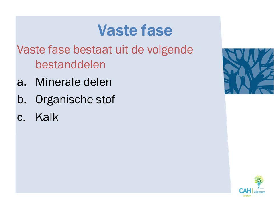 Vaste fase Vaste fase bestaat uit de volgende bestanddelen a.Minerale delen b.Organische stof c.Kalk