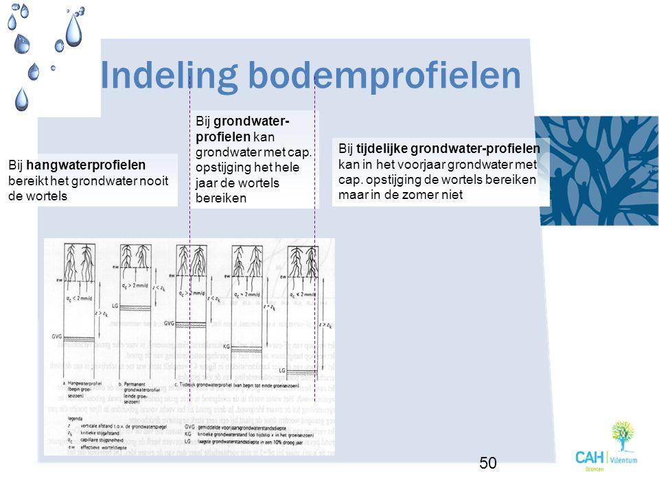 Indeling bodemprofielen 50 Bij hangwaterprofielen bereikt het grondwater nooit de wortels Bij grondwater- profielen kan grondwater met cap. opstijging