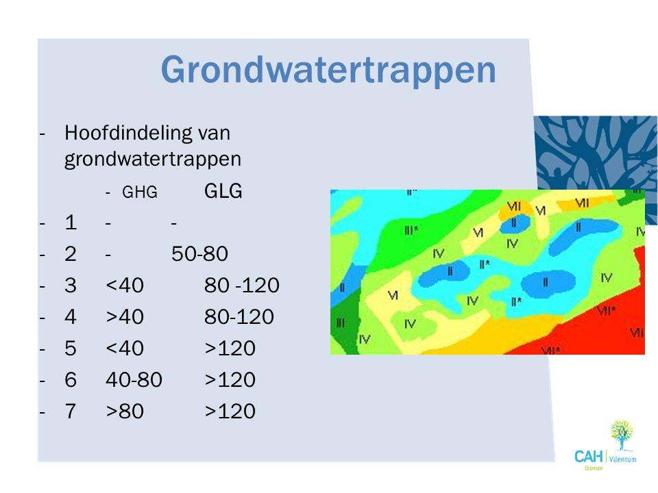 Grondwatertrappen -Hoofdindeling van grondwatertrappen -GHG GLG -1-- -2-50-80 -3<4080 -120 -4>4080-120 -5 120 -640-80>120 -7>80>120