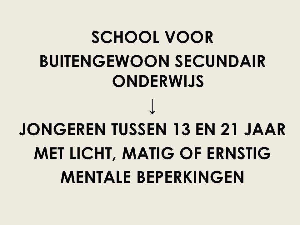 SCHOOL VOOR BUITENGEWOON SECUNDAIR ONDERWIJS ↓ JONGEREN TUSSEN 13 EN 21 JAAR MET LICHT, MATIG OF ERNSTIG MENTALE BEPERKINGEN