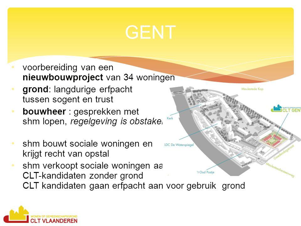 voorbereiding van een nieuwbouwproject van 34 woningen grond: langdurige erfpacht tussen sogent en trust bouwheer : gesprekken met shm lopen, regelgev