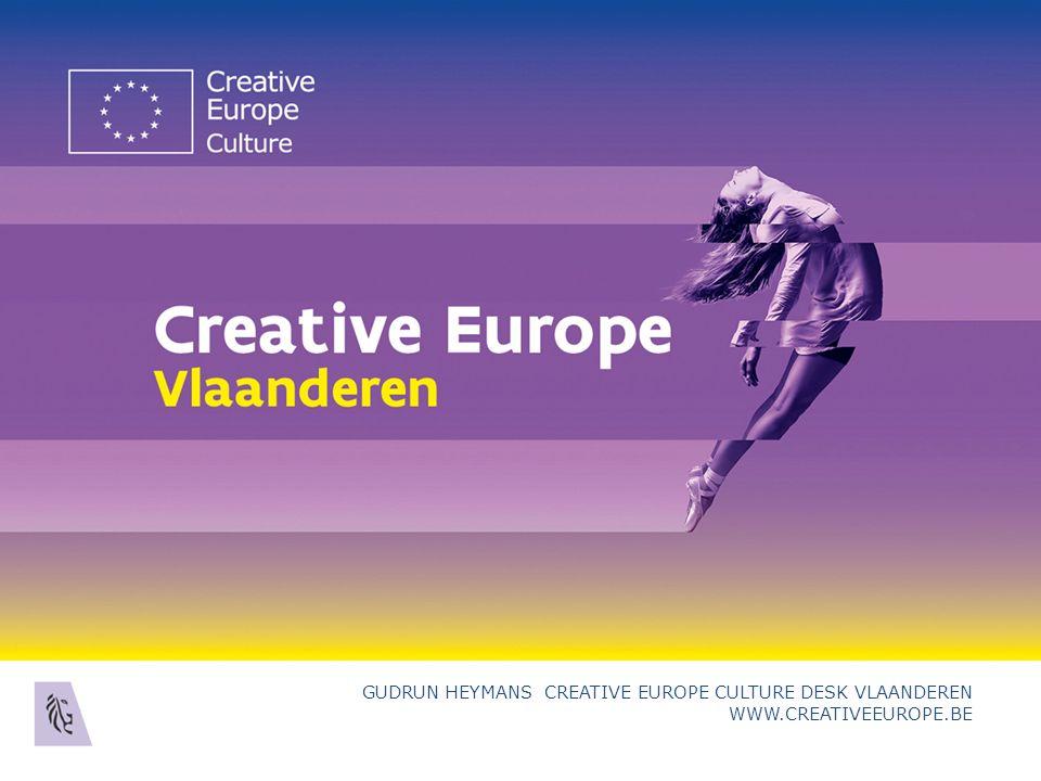 E UROPESE S AMENWERKINGSPROJECTEN O RGANISATIES Culturele en Creatieve Sector (CCS) = alle sectoren waarin de activiteiten gebaseerd zijn op culturele waarden en/of artistieke en andere creatieve uitingen > 2 jaar rechtspersoonlijkheid (publiek/privaat) Gudrun Heymans Creative Europe Culture Desk Vlaanderen