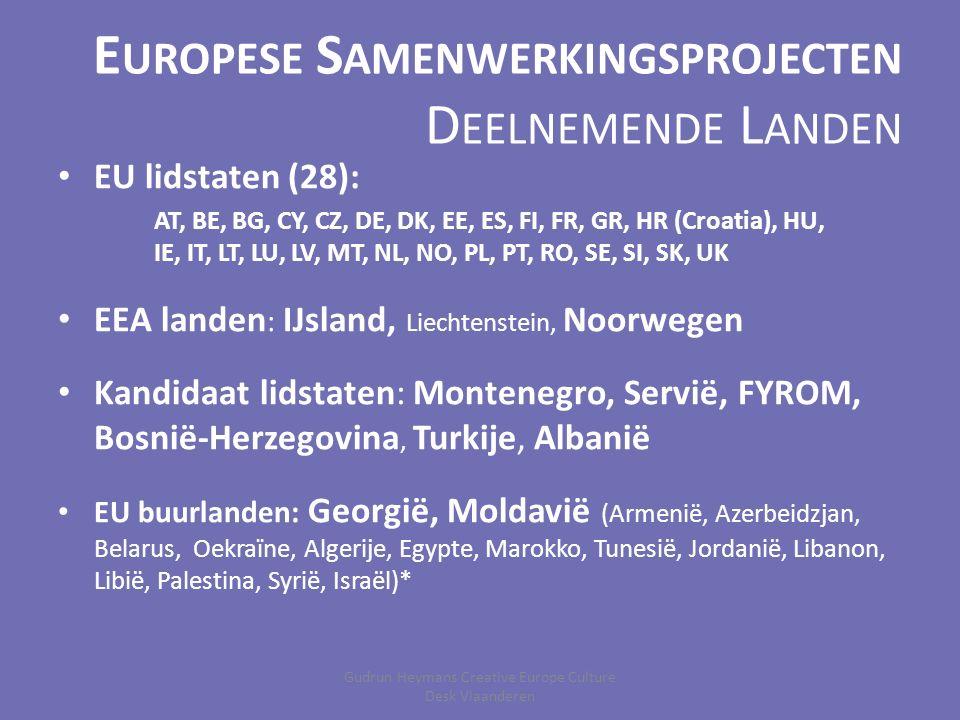 E UROPESE S AMENWERKINGSPROJECTEN D EELNEMENDE L ANDEN EU lidstaten (28): AT, BE, BG, CY, CZ, DE, DK, EE, ES, FI, FR, GR, HR (Croatia), HU, IE, IT, LT, LU, LV, MT, NL, NO, PL, PT, RO, SE, SI, SK, UK EEA landen : IJsland, Liechtenstein, Noorwegen Kandidaat lidstaten: Montenegro, Servië, FYROM, Bosnië-Herzegovina, Turkije, Albanië EU buurlanden: Georgië, Moldavië (Armenië, Azerbeidzjan, Belarus, Oekraïne, Algerije, Egypte, Marokko, Tunesië, Jordanië, Libanon, Libië, Palestina, Syrië, Israël)* Gudrun Heymans Creative Europe Culture Desk Vlaanderen