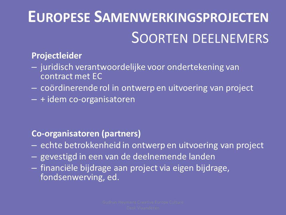 E UROPESE S AMENWERKINGSPROJECTEN S OORTEN DEELNEMERS Projectleider – juridisch verantwoordelijke voor ondertekening van contract met EC – coördinerende rol in ontwerp en uitvoering van project – + idem co-organisatoren Co-organisatoren (partners) – echte betrokkenheid in ontwerp en uitvoering van project – gevestigd in een van de deelnemende landen – financiële bijdrage aan project via eigen bijdrage, fondsenwerving, ed.