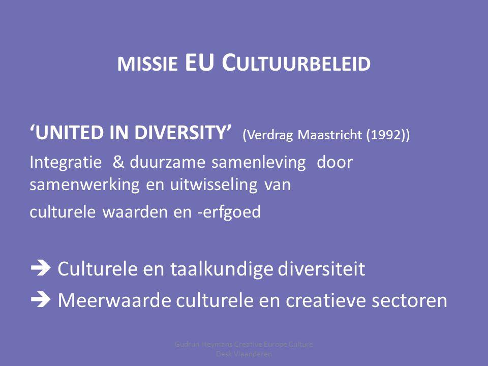 MISSIE EU C ULTUURBELEID 'UNITED IN DIVERSITY' (Verdrag Maastricht (1992)) Integratie & duurzame samenleving door samenwerking en uitwisseling van culturele waarden en -erfgoed  Culturele en taalkundige diversiteit  Meerwaarde culturele en creatieve sectoren Gudrun Heymans Creative Europe Culture Desk Vlaanderen