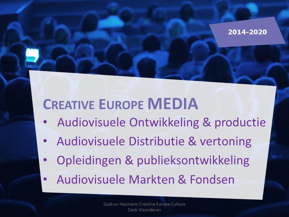 C REATIVE E UROPE MEDIA Audiovisuele Ontwikkeling & productie Audiovisuele Distributie & vertoning Opleidingen & publieksontwikkeling Audiovisuele Markten & Fondsen 2014-2020 Gudrun Heymans Creative Europe Culture Desk Vlaanderen