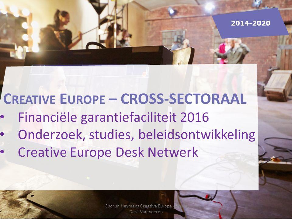 C REATIVE E UROPE – CROSS-SECTORAAL Financiële garantiefaciliteit 2016 Onderzoek, studies, beleidsontwikkeling Creative Europe Desk Netwerk 2014-2020