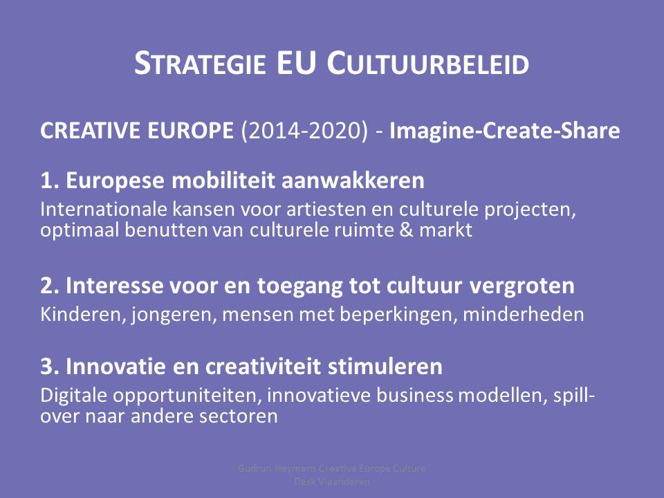 S TRATEGIE EU C ULTUURBELEID CREATIVE EUROPE (2014-2020) - Imagine-Create-Share 1. Europese mobiliteit aanwakkeren Internationale kansen voor artieste