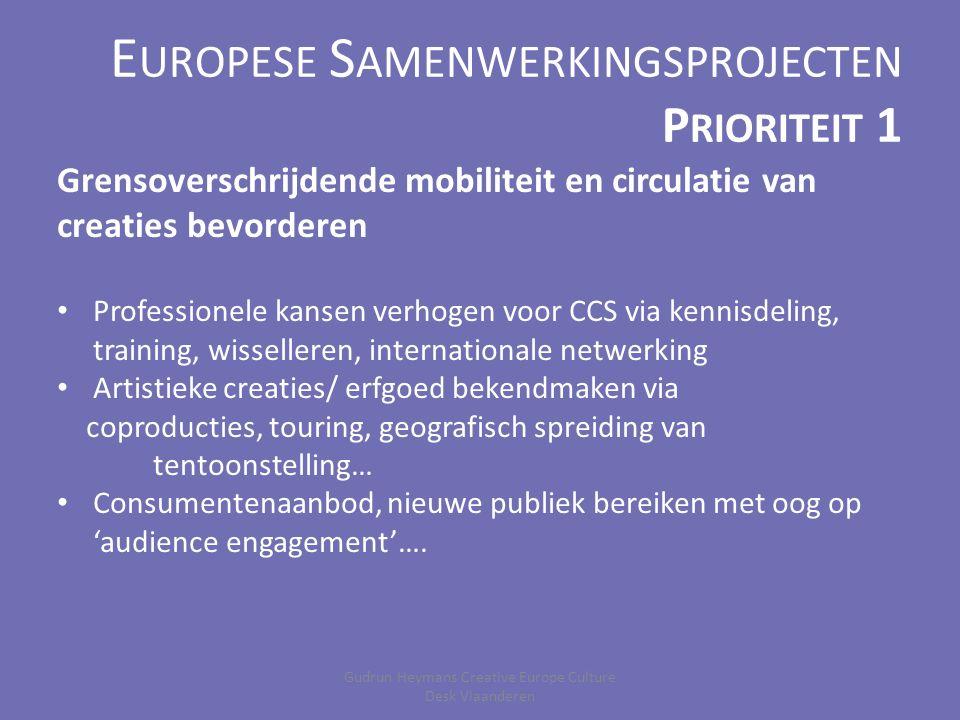 E UROPESE S AMENWERKINGSPROJECTEN P RIORITEIT 2 Publieksbetrokkenheid ondersteunen doelgroep(en) betrekken in creatieve proces samenwerking MET (actief) i.p.v.