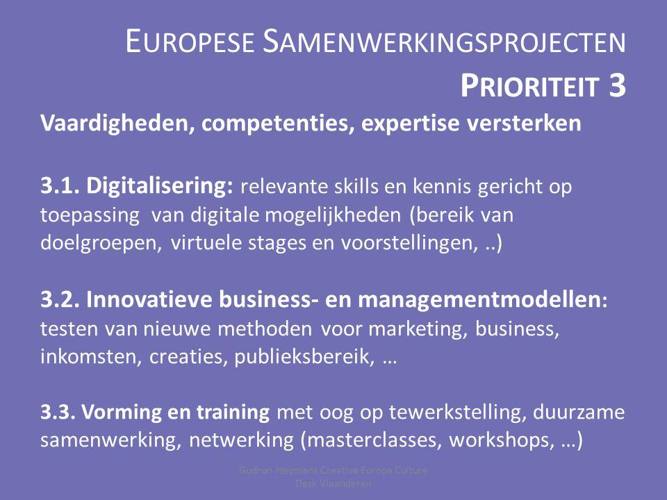 E UROPESE S AMENWERKINGSPROJECTEN Kleinschalige projecten (Categorie 1) – Minimaal 3 landen – Maximum € 200.000 (60% EU steun) – Maximaal 4 jaar Grootschalige projecten (Categorie 2) – Minimaal 6 landen – Maximum € 2.000.000 (50% EU steun) – Maximaal 4 jaar Gudrun Heymans Creative Europe Culture Desk Vlaanderen