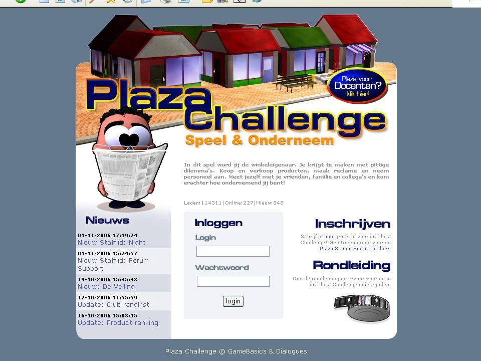 Wat is Plaza Challenge.● Een economisch georiënteerd interactief spel (15.000 deelnemers).
