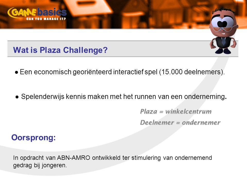 Wat is Plaza Challenge? ● Een economisch georiënteerd interactief spel (15.000 deelnemers). ● Spelenderwijs kennis maken met het runnen van een ondern