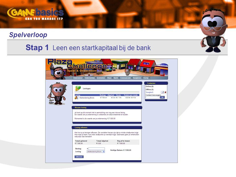 Spelverloop Stap 1 Leen een startkapitaal bij de bank