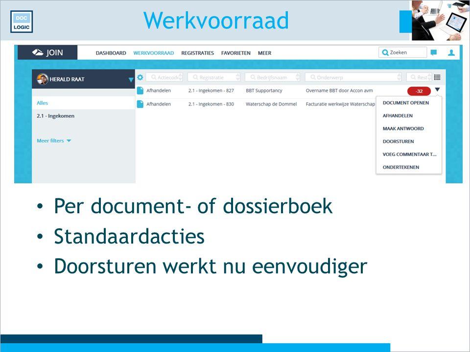 Werkvoorraad Per document- of dossierboek Standaardacties Doorsturen werkt nu eenvoudiger