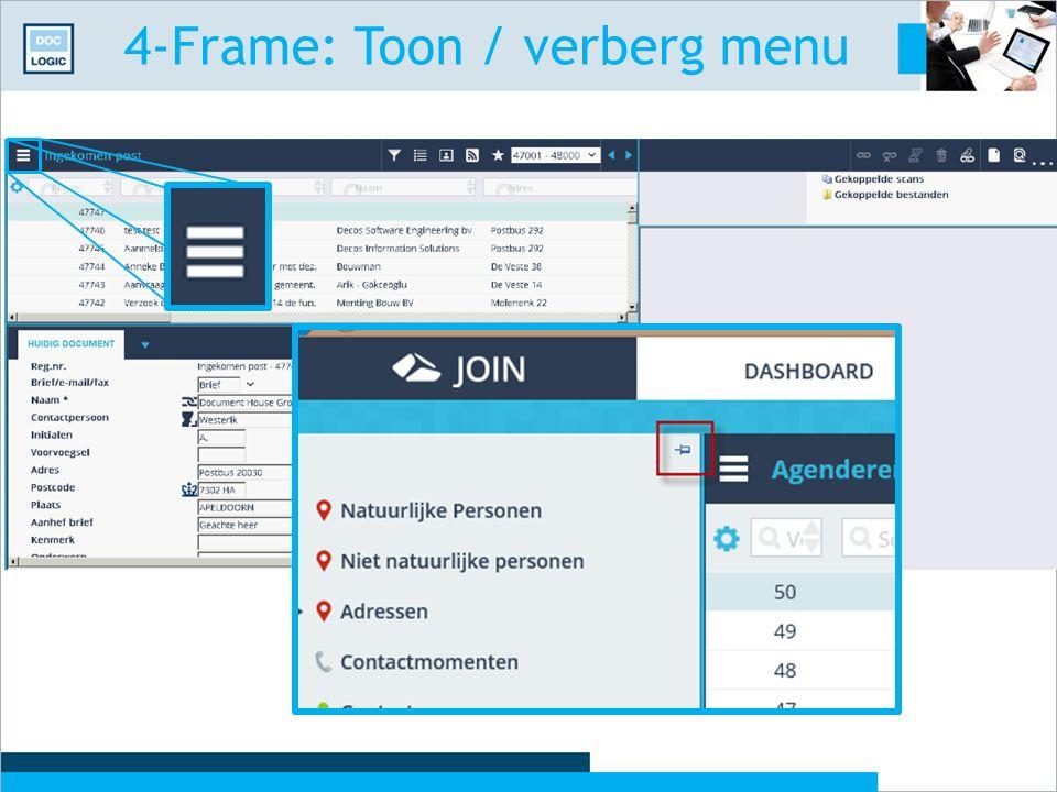 4-Frame: Toon / verberg menu