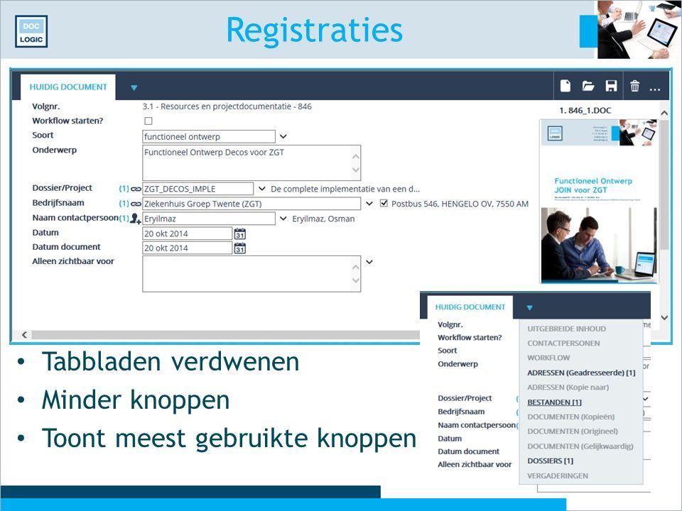 Registraties Tabbladen verdwenen Minder knoppen Toont meest gebruikte knoppen