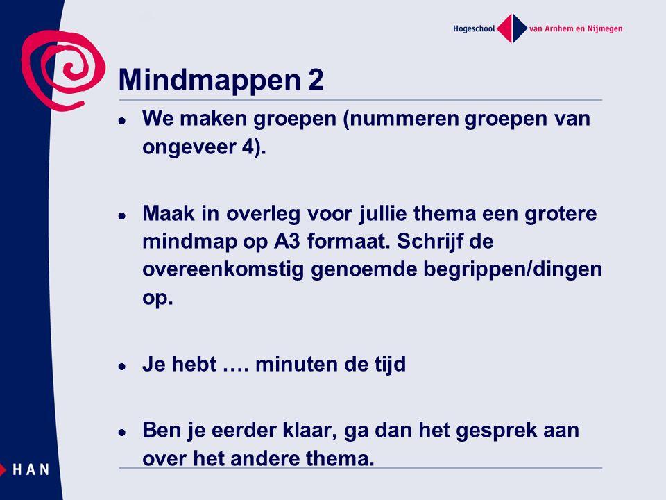 Mindmappen 2 We maken groepen (nummeren groepen van ongeveer 4). Maak in overleg voor jullie thema een grotere mindmap op A3 formaat. Schrijf de overe