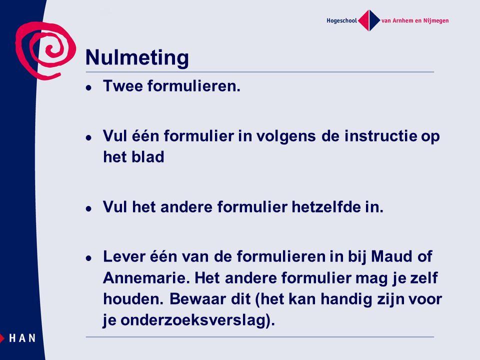 Nulmeting Twee formulieren.