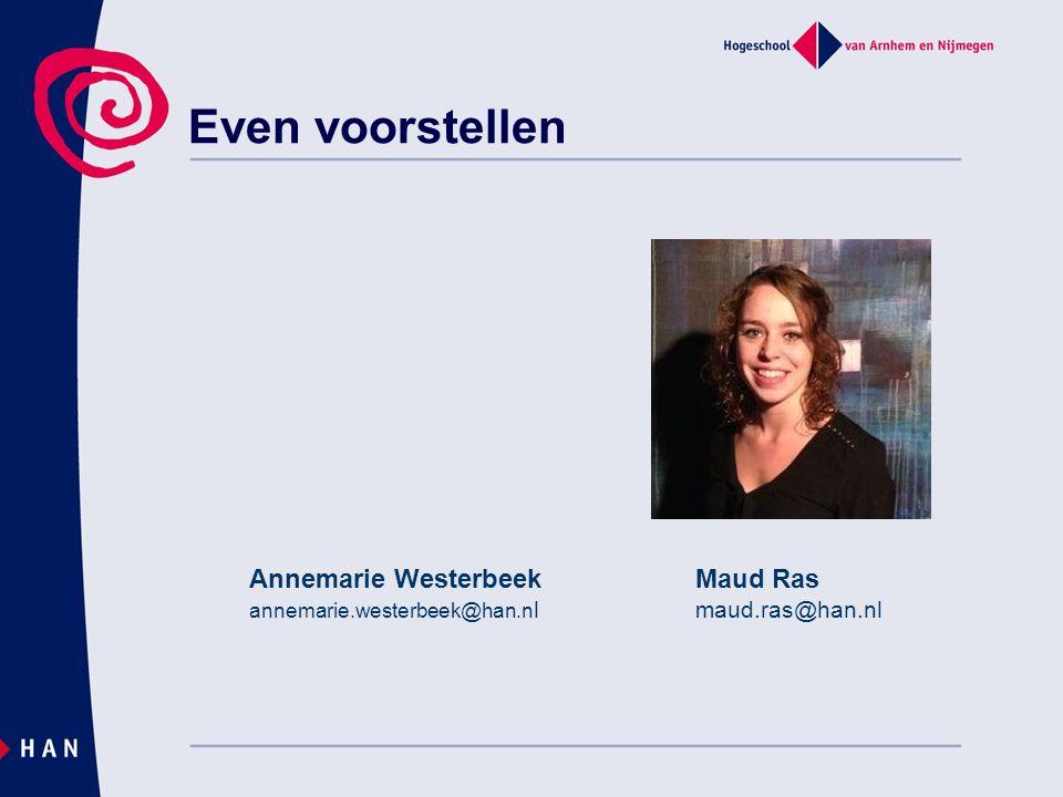 Even voorstellen Maud Ras maud.ras@han.nl Annemarie Westerbeek annemarie.westerbeek@han.n l
