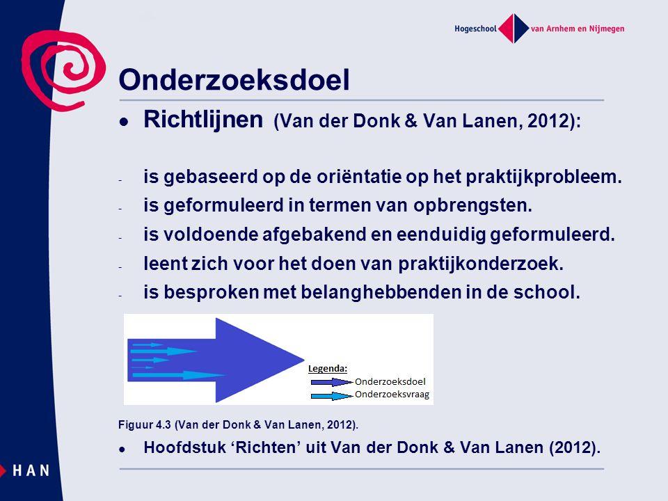 Onderzoeksdoel Richtlijnen (Van der Donk & Van Lanen, 2012): - is gebaseerd op de oriëntatie op het praktijkprobleem. - is geformuleerd in termen van