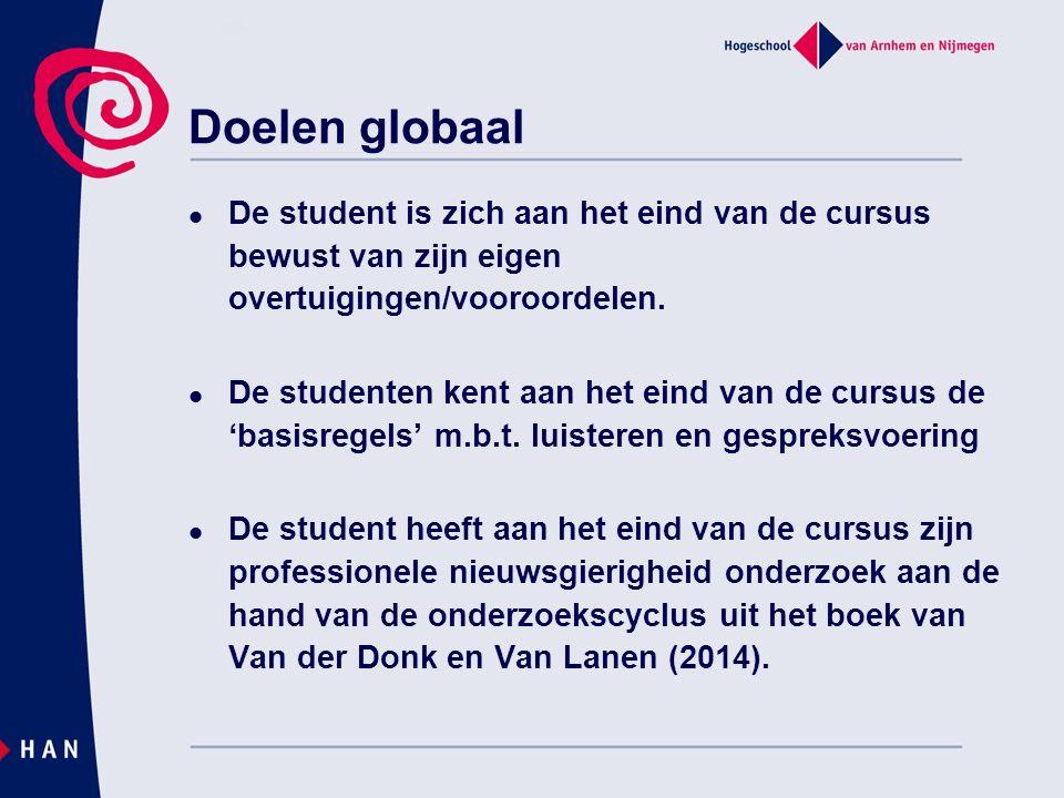 Doelen globaal De student is zich aan het eind van de cursus bewust van zijn eigen overtuigingen/vooroordelen. De studenten kent aan het eind van de c