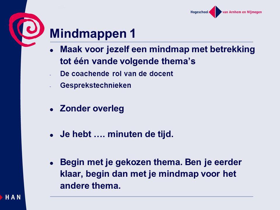 Mindmappen 1 Maak voor jezelf een mindmap met betrekking tot één vande volgende thema's - De coachende rol van de docent - Gesprekstechnieken Zonder overleg Je hebt ….