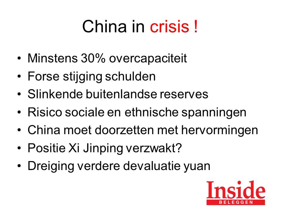 Minstens 30% overcapaciteit Forse stijging schulden Slinkende buitenlandse reserves Risico sociale en ethnische spanningen China moet doorzetten met hervormingen Positie Xi Jinping verzwakt.