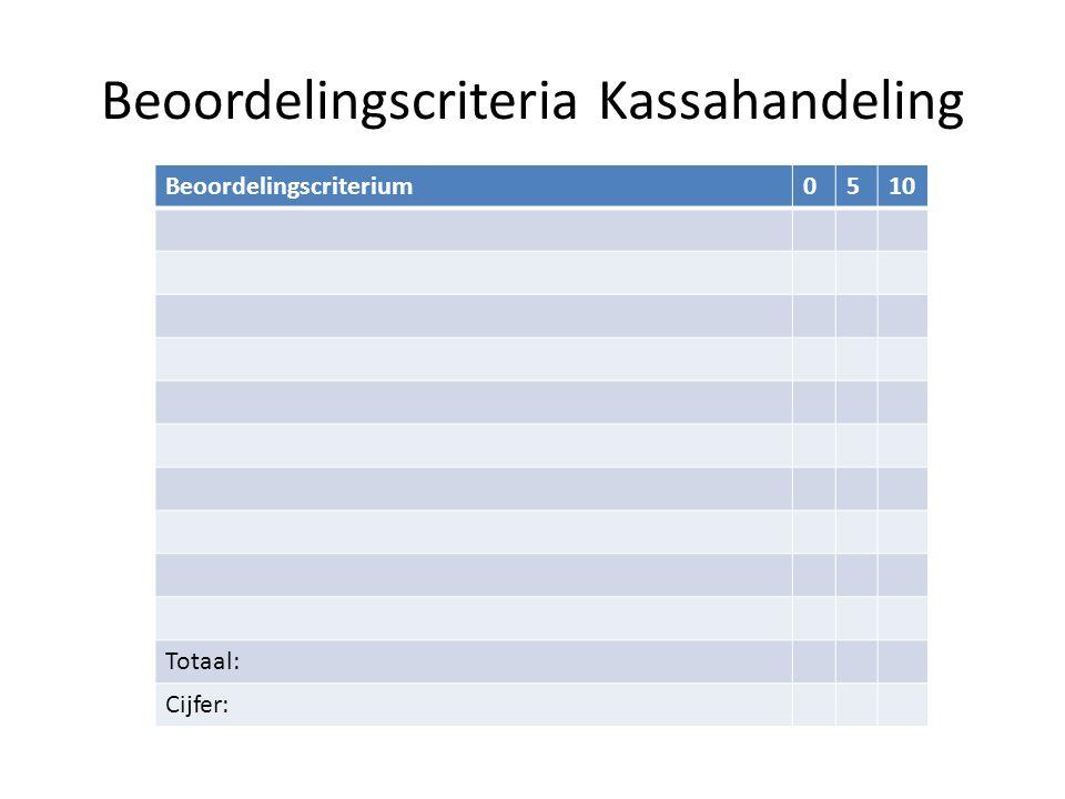 Beoordelingscriteria Kassahandeling Beoordelingscriterium0510 Totaal: Cijfer: