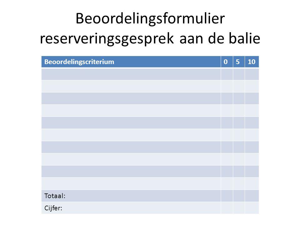 Beoordelingsformulier reserveringsgesprek aan de balie Beoordelingscriterium0510 Totaal: Cijfer: