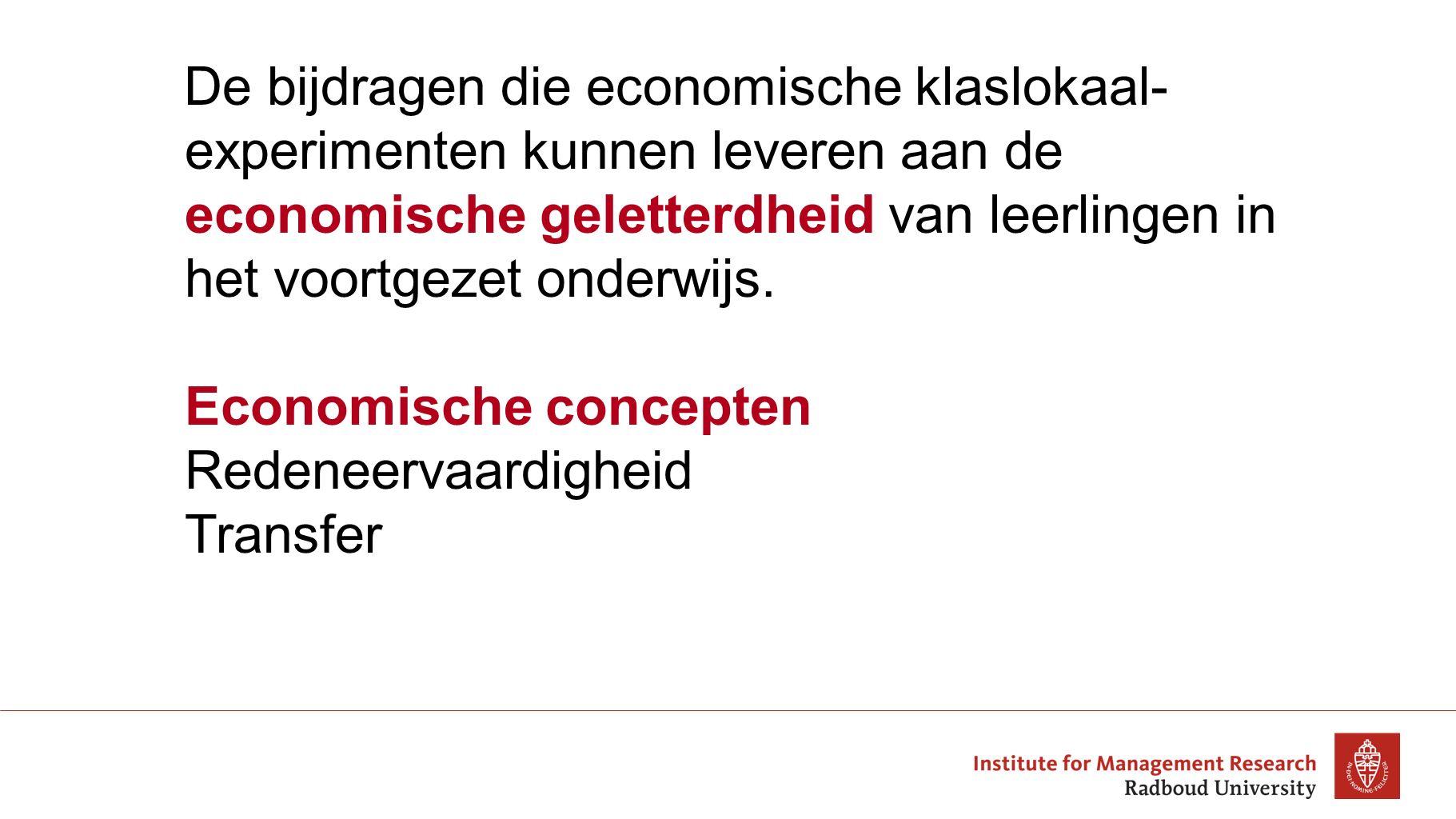 Economische concepten Redeneervaardigheid Transfer