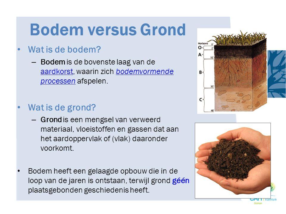Bodem versus Grond Wat is de bodem? – Bodem is de bovenste laag van de aardkorst, waarin zich bodemvormende processen afspelen. aardkorstbodemvormende