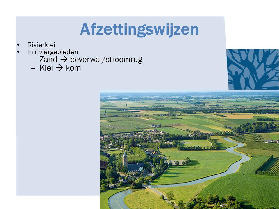 Afzettingswijzen Rivierklei In riviergebieden – Zand  oeverwal/stroomrug – Klei  kom
