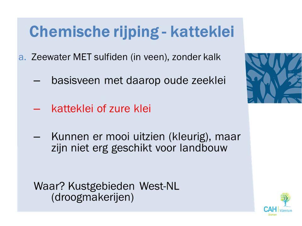 Chemische rijping - katteklei a. Zeewater MET sulfiden (in veen), zonder kalk – basisveen met daarop oude zeeklei – katteklei of zure klei – Kunnen er