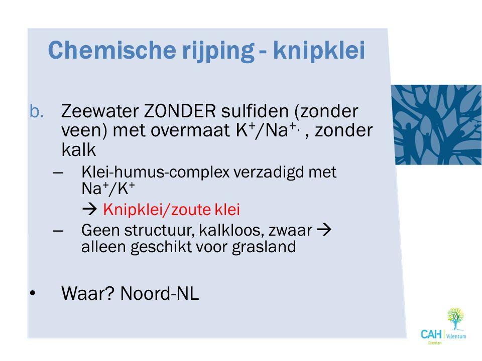 Chemische rijping - knipklei b. Zeewater ZONDER sulfiden (zonder veen) met overmaat K + /Na +,, zonder kalk – Klei-humus-complex verzadigd met Na + /K